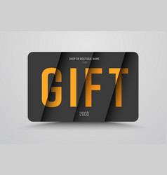 gift card template is black with orange text at vector image
