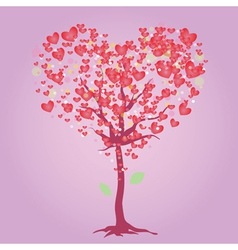Pink heart tree vector