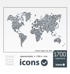 Set of icons packed to earth shape vector image