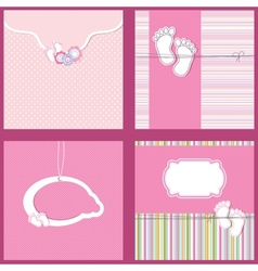 Set Vintage baby girl arrival announcement card vector image vector image