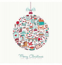 christmas and new year doodle icon decoration vector image vector image