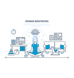 girl in lotus position relaxing in peace quiet vector image
