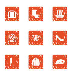 American hike icons set grunge style vector
