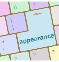 Appearance word on computer keyboard key vector