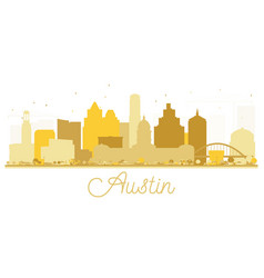 Austin texas usa city skyline golden silhouette vector