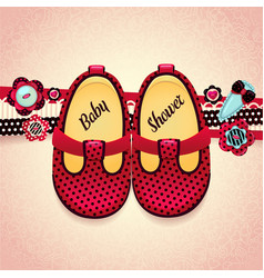 Baby shower baby girl red shoes vector