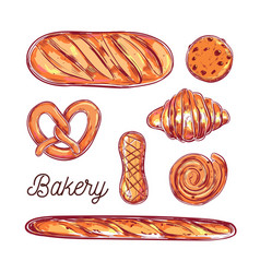 bakery and bread colorful vector image