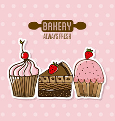 Bakery shop always fresh products vector