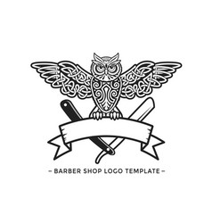 Barbershop owl logo template vector