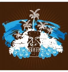 blue and brown tropical grunge vector image