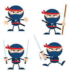 blue ninja warrior with weapons collection vector image