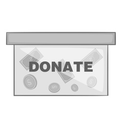 Box for donations icon black monochrome style vector image
