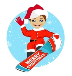 Boy wearing santa claus costume snowboarding vector