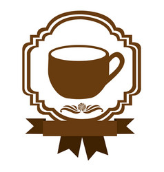Brown border heraldic decorative ribbon with cup vector