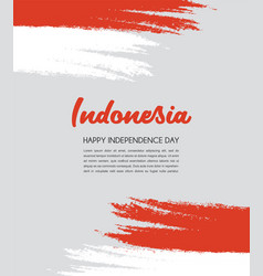 Brush painted indonesia flag hand drawn style vector