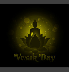 Buddha on lotus happy vesak day background vector