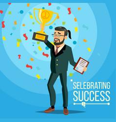 business victory joyful bearded vector image