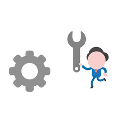 businessman character running and holding spanner vector image