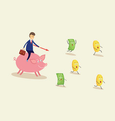 Businessman chasing money on pink piggy bank vector