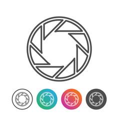 camera shutter outline icon symbol design set vector image