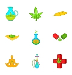 Cannabis icons set cartoon style vector