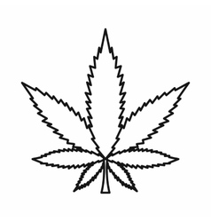 Cannabis marijuana leaf icon outline style vector