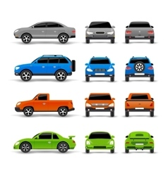 Cars side front and back icons set vector