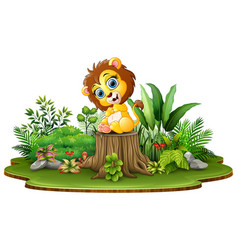 Cartoon happy baby lion sitting on tree stump with vector