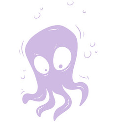 cartoon violet cute alien monster icon vector image