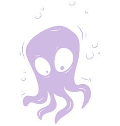 Cartoon violet cute alien monster icon vector