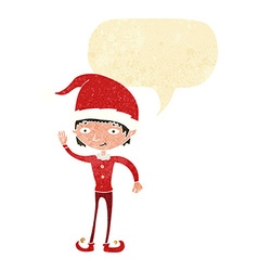 cartoon waving christmas elf with speech bubble vector image