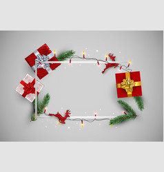 christmas card frame template with red gifts vector image