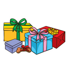 color boxes with gifts and dog bone with bow vector image