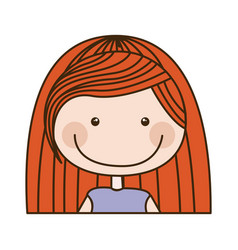 Colorful caricature half body girl with red long vector