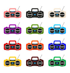 Colorful cartoon boombox collection vector