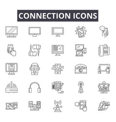 connection line icons signs set outline vector image