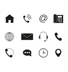 Contact to us icons set black vector