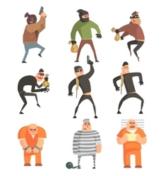 Criminals and convicts funny characters set vector