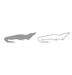 crocodile grey set icon vector image