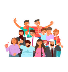 Crowd people banner vector