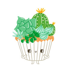 Cupcake character with creamy succulents vector