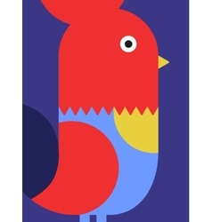Cute cartoon geometric style rooster vector