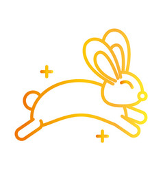 cute rabbit jump animal white background gradient vector image