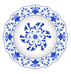 Decorative porcelain plate ornate in traditional vector