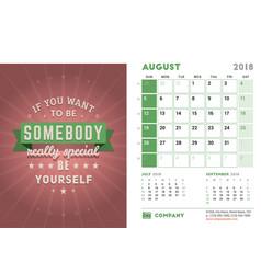 Desk calendar template for 2018 year august vector