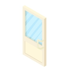Door with glass icon cartoon style vector image
