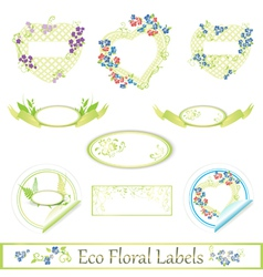 Eco floral label set vector