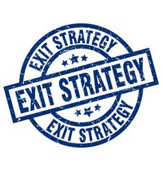 Exit strategy blue round grunge stamp vector