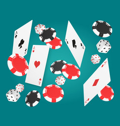 falling aces cards with red and black chips and vector image