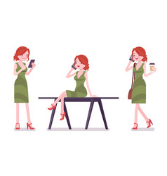Female clerk with gadgets vector